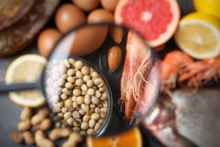 Different products with magnifier focused on soy beans and shrimps, closeup. Food allergy concept